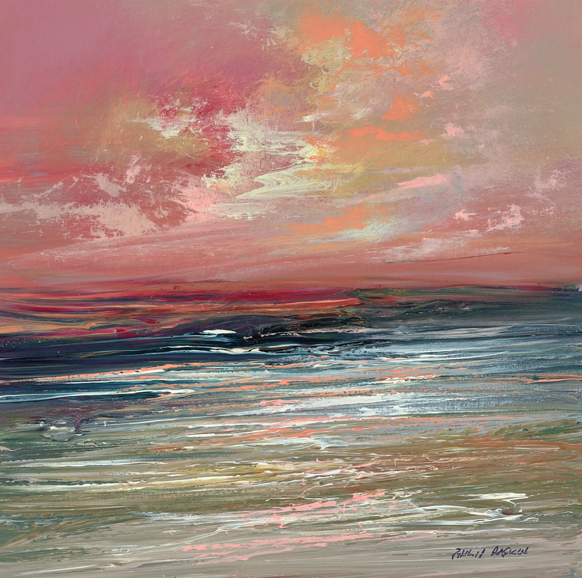 Red Sky I by philip raskin -  sized 10x10 inches. Available from Whitewall Galleries